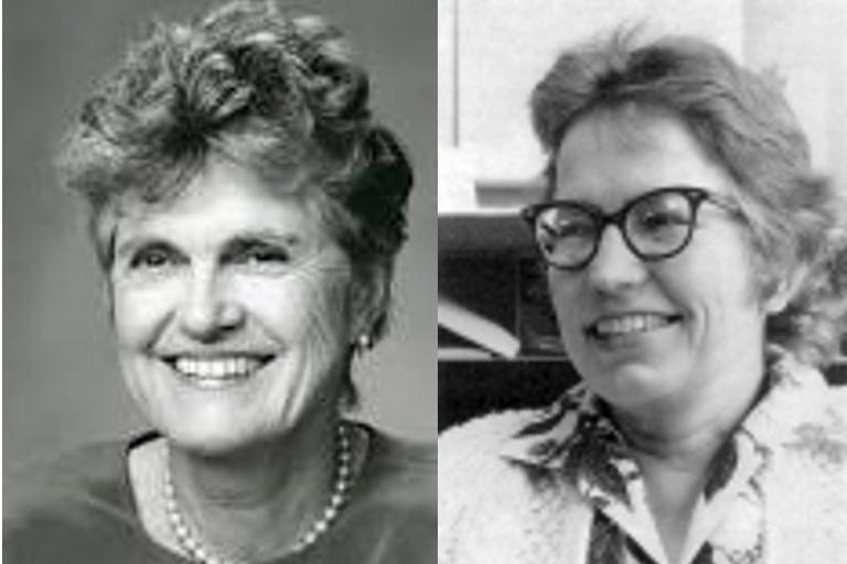 ID: grayscale headshots of Susan Ervin-Tripp and Elizabeth L. Scott placed side by side