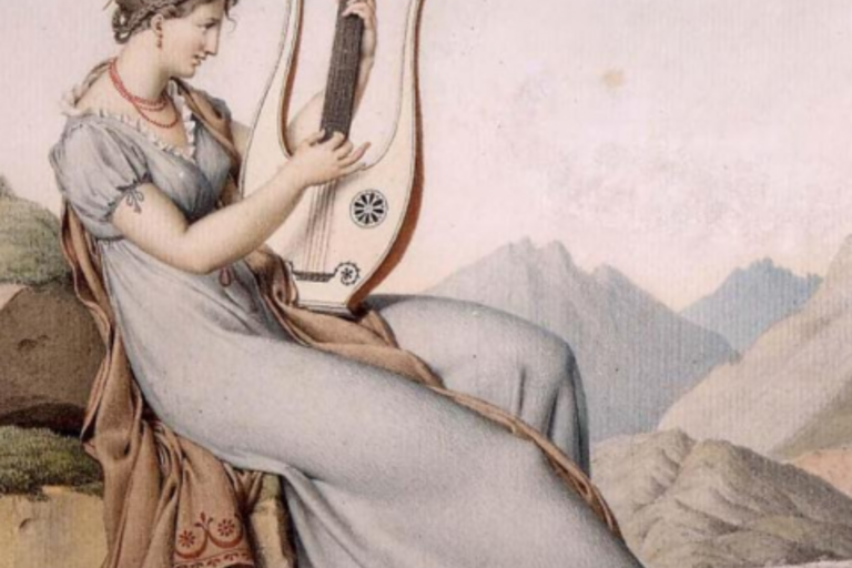 ID: dull pastel colored painting of a women in traditional greek or latin attire, playing a stringed instrument
