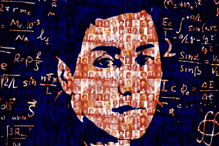 ID: a digital portrait of mathematician Maryam Mirzakhani created with math equations and small profiles of women colleagues