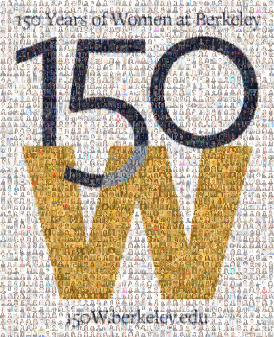 ID: 150W mosaic comprised of several hundred headshots submitted by the campus community