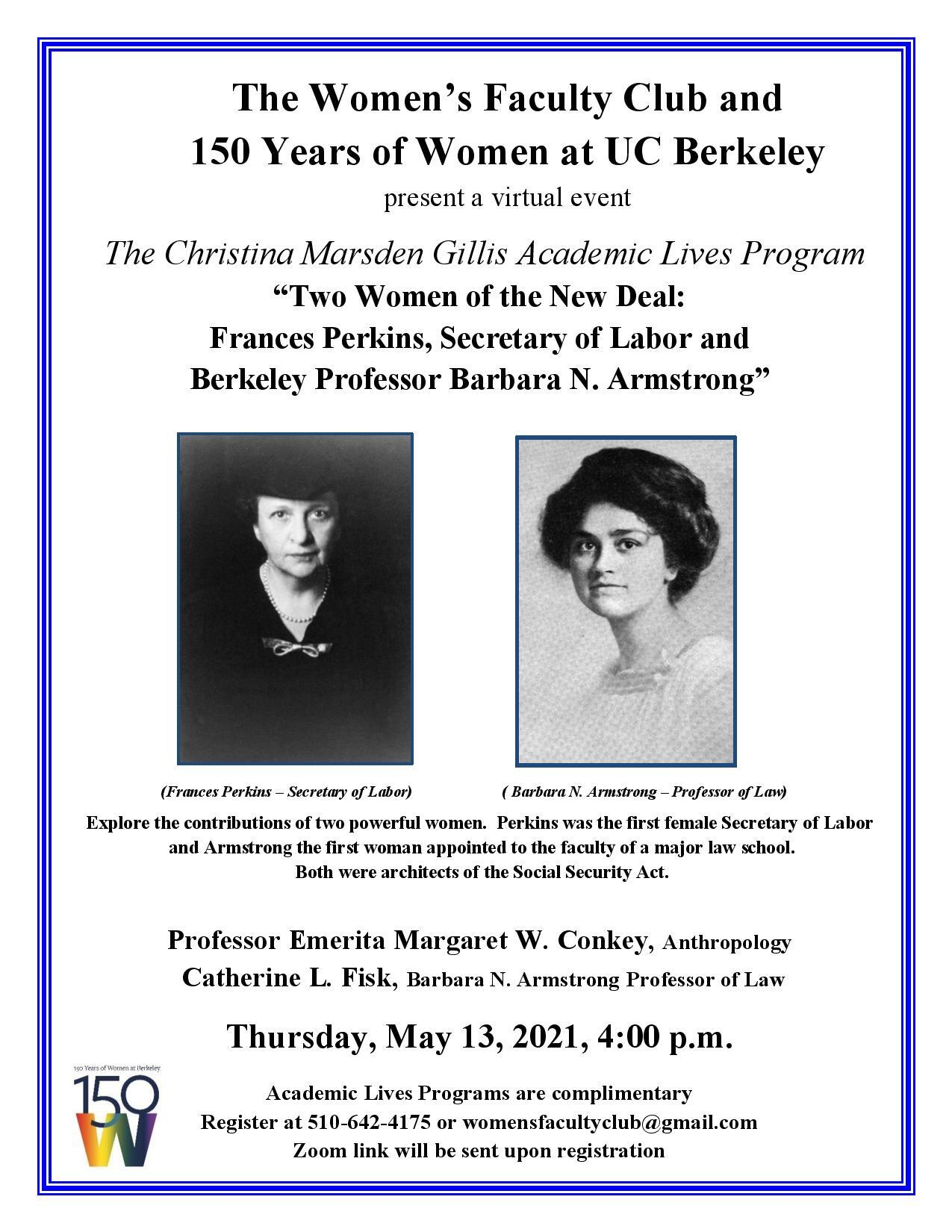 ID: flyer for Academic Lives series on Frances Perkin and Barbara Armstrong