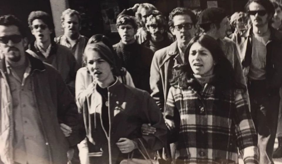 Clementina Duron [right] pictured protesting with students.