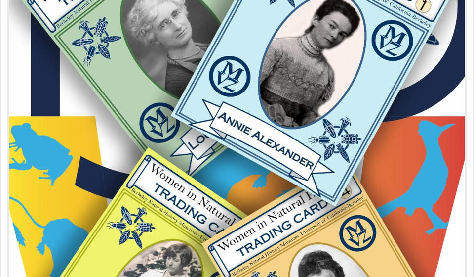 """ID: 4 Women in Natural History """"trading cards"""" superimposed over 150W logo background"""