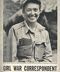 """black and white newspaper clipping of Marguerite Higgins smiling at the camera above the words """"GIRL WAR CORRESPONDENT"""""""