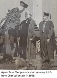 photo of Agnes Faye Morgan in graduate gown and hood receiving honorary LLD from Chancellor Kerr; behind her is another students with a similar gown and tassel