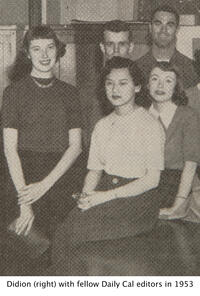 writer and alumna Joan Didion ('56) standing beside four fellow Daily Cal editors in 1953