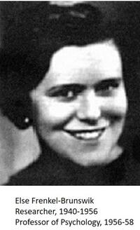 grayscale headshot of Else Frenkel-Brunswik smiling into the camera