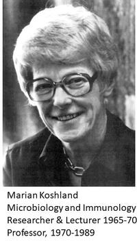 grayscale photo of Marian Koshland in thick framed glasses, waring a chain necklace and dark collared shirt, smiling into the camera