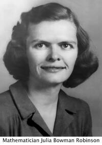 photo of mathematician Julia Bowman Robinson smiling into camera