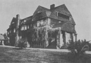 grayscale photo of Channing Hall, one of the first classic Berkeley brown-shingle buildings
