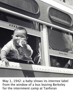 a Japanese baby holding its internee label, seen looking through a train window