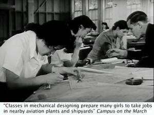 """black and white image of students working on assignments, captioned """"Classes in mechanical designing prepare many girls to take jobs in nearby aviation plants and shipyards"""" from a source called Campus on the March"""