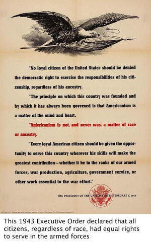 poster of 1943 executive order declaring all citizens had equal rights to serve in armed forces