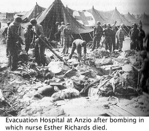 image of evacuation hospital at Anzio after bombing in which nurse Esther Richards died