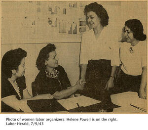 sepia image of 4 women labor organizers; Helene Powell is on the right side