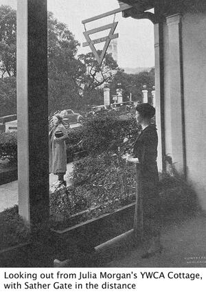 a female figure looking out from Julia Morgan's YWCA cottage with Sather Gate in the distance