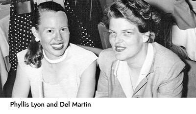 image of phyllis lyon smiling in ponytail with earrings and sleeveless top on the left; dell martin smiling in blazer and white collared shirt with hair tied up