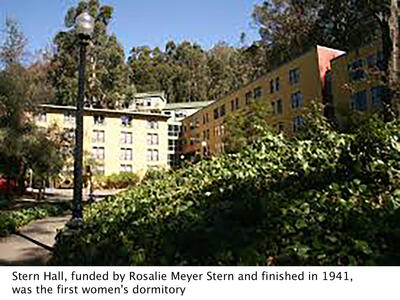 colored image of stern hall, the first women's dormitory, funded by Rosalie Meyer Stern
