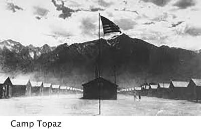 black and white image of Camp Topaz with barracks on the sides and an American flag in the center